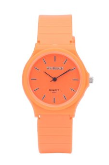 Womage Candy Color Silicone Strap Quartz Watch-Orange