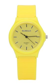 Womage Candy Color Silicone Strap Quartz Watch-Yellow