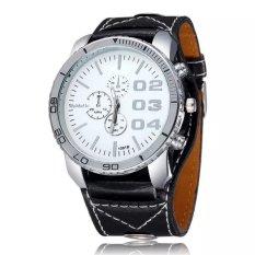 WOMAGE Men Big Round Style Adjustable Alloy Case PU Leather Band Quartz Watches Black White