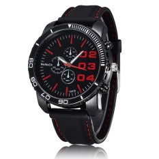 WOMAGE Men Luxury Silicone Strap Business Casual Boys Quartz Big Watches Wristwatch Red (Intl)