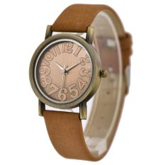 WoMaGe Vintage Casual Women Frosted PU Leather Strap Quartz Watch Light Brown
