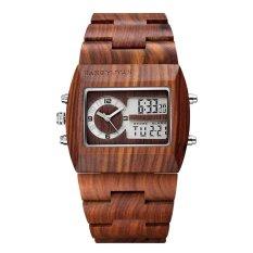 Womdee JIANGYUYAN Luxury Natural Sandalwood Wood Watches Men Digital Chronograph LED Dual Time Zone Clock masculino (red sandalwood)