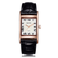 Womdee New Women Leather Band Quartz Watches Rose Gold Case Fashion Casual Watch Rectangle Dial Roman Number Wristwatches