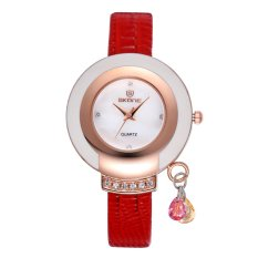 Womdee SKONE New Design Ladies' Dress Wrist Watch Women Luxury Brand Leather Wristwatch Shell Quartz Rhinestone Gold Watches Reloj Saat (Black)