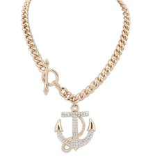 Women Ace Anime One Piece Necklace Cosplay Luffy One Piece Necklace Big Gold Bone Sideways Anchor And Cross One Piece Necklace (Intl)
