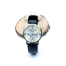 Women Aztec Tribal Pattern PU Leather Quartz Wrist Watches Watch Black