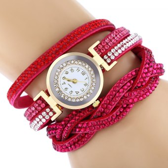 Women Bracelet Quartz Wrist Watch Round Shaped Rhinestone Decorated Fastener
