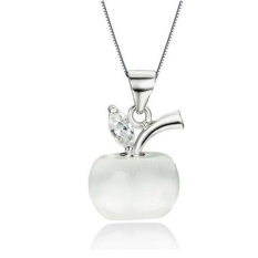 Women Crystal Heart Pendant Necklace Chain Jewelry Little Apple (White)