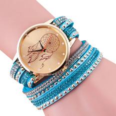 Women Crystal Rivet Bracelet Quartz Braided Winding Wrap Wrist Watch Sky Blue (Intl)
