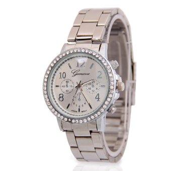 Women Dress Watches Geneva Stainless Steel Watch Luxury Casual Quartz Watch (Beige)