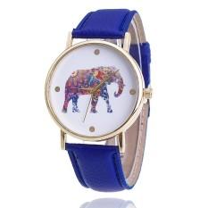 Women Elephant Leather Strap Watch Fashion Women Quartz Wristwatch (Dark Blue) (Intl)