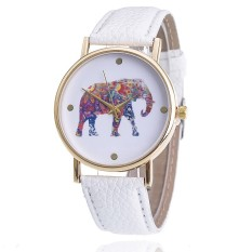 Women Elephant Leather Strap Watch Fashion Women Quartz Wristwatch (White) (Intl)