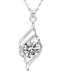 Women Fashion Sterling Silver Crystal Heart Pendant Necklace Chain Jewelry