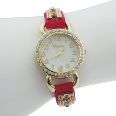 Women Geneva Leather Rhinestone Strap Quartz Bracelet Wrist Watch Hot Pink (Intl)