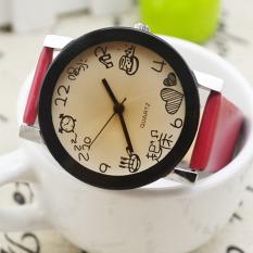 Women Girls Fuax Leather Strap Round Dial Quartz Wrist Watch Red (Intl)