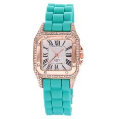 Women Ladies Luxury Square Silicone Crystal Diamond Quartz Jelly Watch Dial Green (Intl)