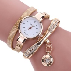 Women Leather Rhinestone Analog Quartz Wrist Watches - Beige - intl