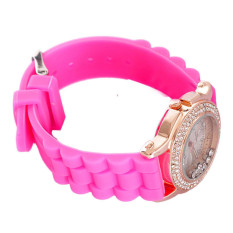 Women Luxury Ladies Silicone Roll Crystal Diamond Quartz Jelly Watch Dial Rose (Intl)