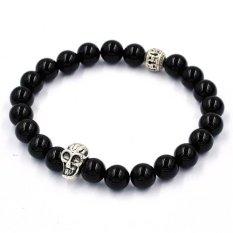 Women Men Bracelet Elastic Beaded Bracelet Tibet Charm Bracelets Black (Intl)