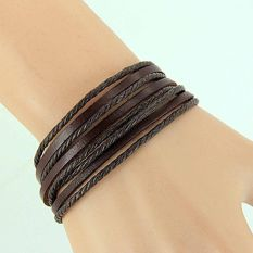 Women Men Girl Wrap Multilayer Genuine Leather Bracelet Braided Rope Jewelry Brown (Intl)