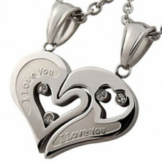 Women Men Lover I Love You Heart Shape Pendant Necklace Stainless Steel Silver (Intl)