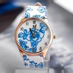 Women New Fashion Pu Leather Flower Watch Women Dress Watch Stylish Quartz Watches Light Blue
