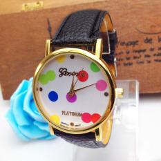 Women Polka Dot Pattern Leather Band Quartz Analog Watches Watch Black (Intl)