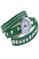 Women Retro Fashion Rivet Synthetic Leather Strap Bracelet Watch (Green)