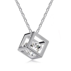 Women Sterling Silver Crystal Heart Pendant Necklace Chain Jewelry Magic Box