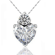 Women Sterling Silver Crystal Heart Pendant Rhinestone Chain Jewelry (White)
