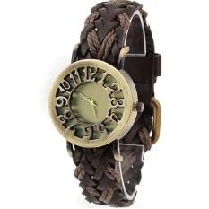 Women Vintage Hollow Skeleton Quartz Watches Leather Bracelet Watches Braided Women Dress Watches Relogio Feminino Brown (Intl)
