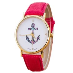 Women Watches Fashion PU Leather Strap Alloy Watches Women Dress Quartz Watches Relogio Feminino Pieces Of Red (Intl)