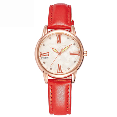 Women Watches Leather Watchband Quartz Watch 5203-Red (Intl)
