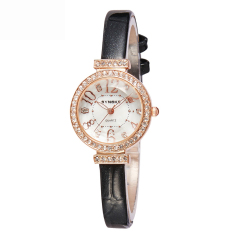 Women Watches Leather Watchband Quartz Watch 5206-Black (Intl)