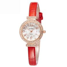 Women Watches Leather Watchband Quartz Watch 5206-Red (Intl)