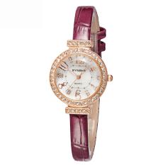Women Watches Leather Watchband Quartz Watch 5206-Wine Red (Intl)