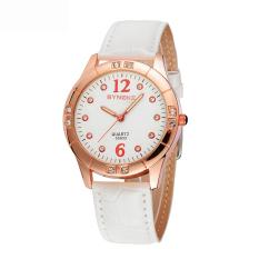 Women Watches Leather Watchband Quartz Wrist Watch 35933 -Beige (Intl)