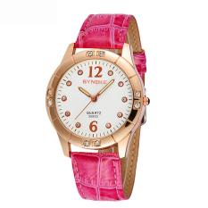 Women Watches Leather Watchband Quartz Wrist Watch 35933 -Magenta (Intl)
