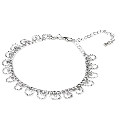 Womens Crystal Rhinestone Wave Chain Ankle Bracelet Barefoot Anklet