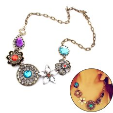 Women'S Flower Rhinestone Choker Bib Collar Chain Necklace Elegant New Charm (Intl)