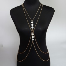 Womens Gold Body Chain Necklace Women Fashion Accessories Summer Waist Chain Simple Body Chain Necklace Jewelry (Intl)