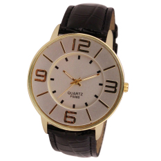 Womens Ladies Fashion Numerals Gold Dial Leather Analog Quartz Watch (Black)