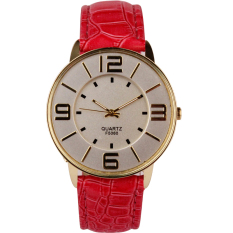Womens Ladies Fashion Numerals Gold Dial Leather Analog Quartz Watch Hot Pink
