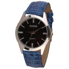 Womens Ladies Mens Leather Quartz Analog Dress Bracelet Wrist Watch Blue