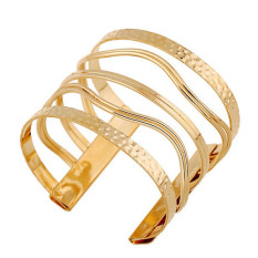 Womens Punk Style Curve Hollow Out Cuff Bracelets Fine Jewelry LB326 Gold