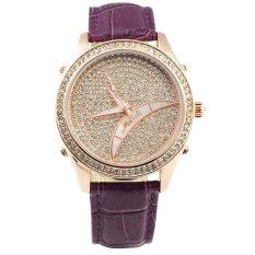 Women's Shiny Luminous Hands Quartz Movement Wrist Watch (Purple)