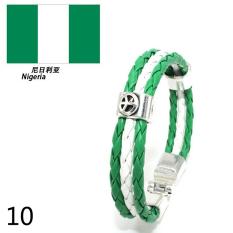 World Cup FIFA Soccer Fans National Flag Color Mens Womens Leather Bracelet Nigeria - Intl