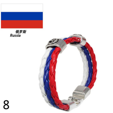 World Cup FIFA Soccer Fans National Flag Color Mens Womens Leather Bracelet Russia - Intl