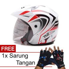 WTO Helmet Z1R PET - R2 Rider - Putih Merah + Promo Gratis Sarung Tangan