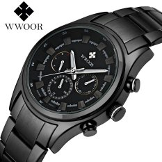 Wwoor 8815 Sporty / Chronograph (Date, Days & 24 Hours) / Stainless Steel (Black Strip-White)